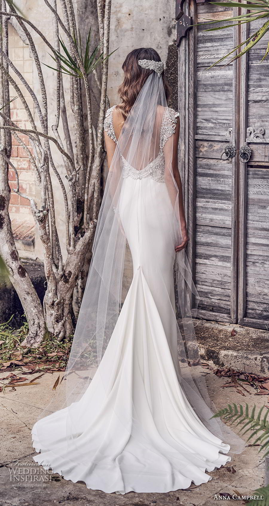 anna campbell 2019 bridal cap sleeves v neck heavily embellished bodice glitzy romantic sheath wedding dress backless scoop back chapel train (3) bv