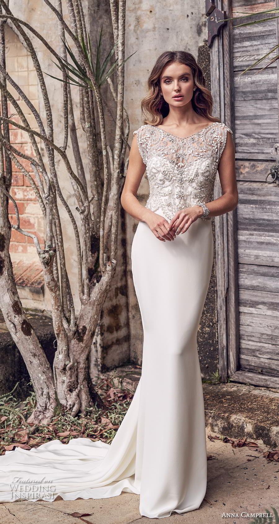 anna campbell 2019 bridal cap sleeves v neck heavily embellished bodice glitzy romantic sheath wedding dress backless scoop back chapel train (3) mv