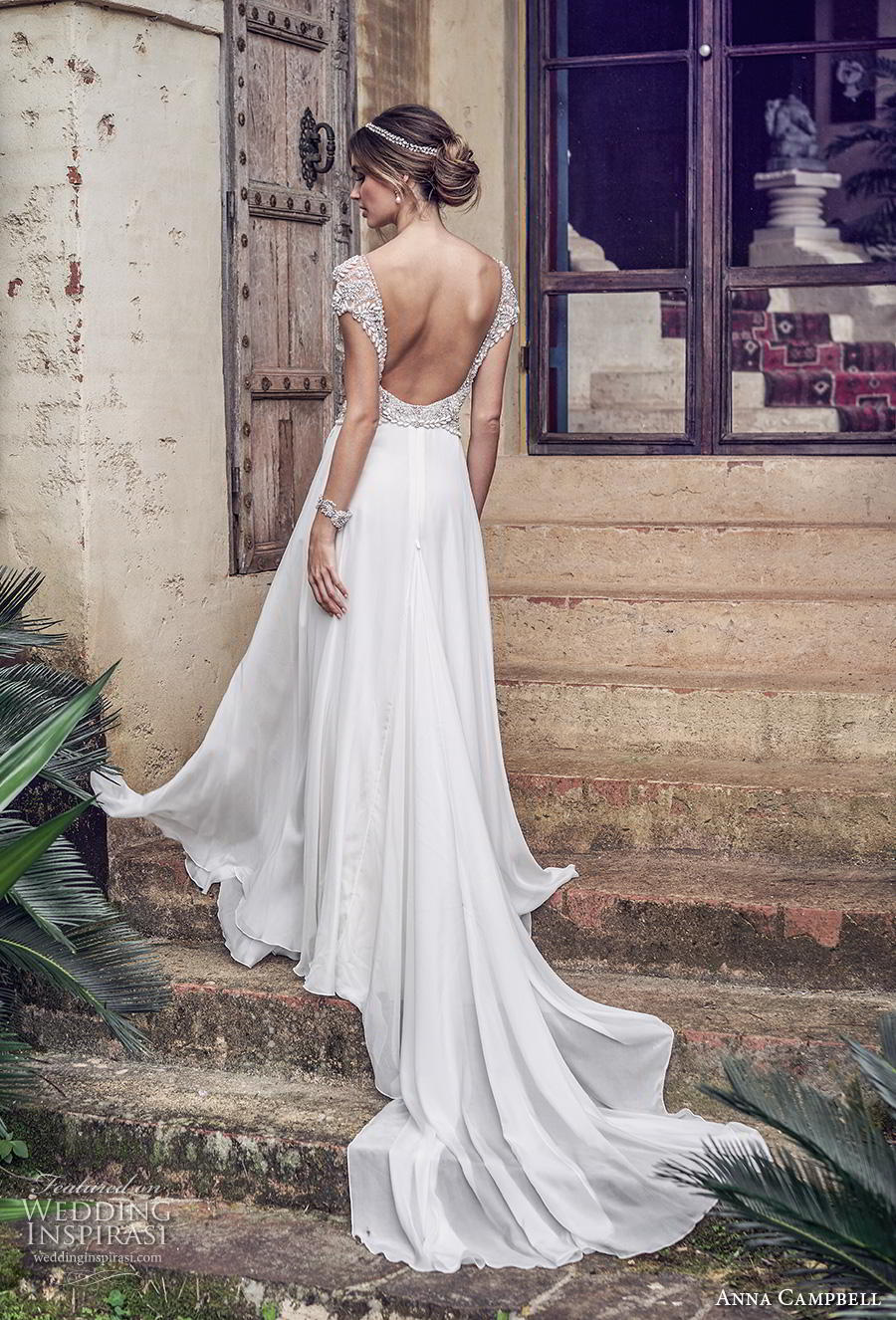 anna campbell 2019 bridal cap sleeves v neck heavily embellished bodice glitzy romantic soft a line wedding dress backless scoop back chapel train (3) bv