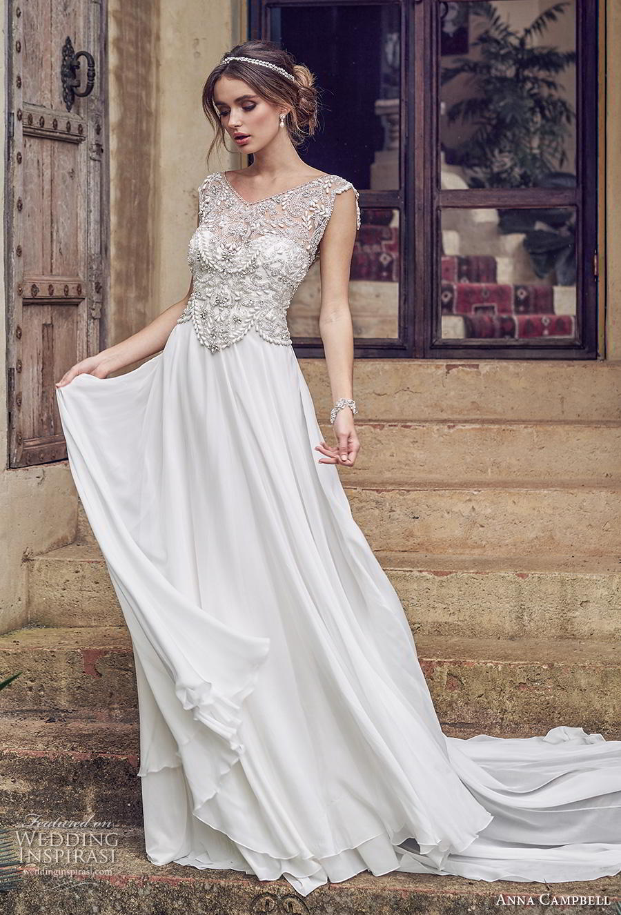 anna campbell 2019 bridal cap sleeves v neck heavily embellished bodice glitzy romantic soft a line wedding dress backless scoop back chapel train (3) mv