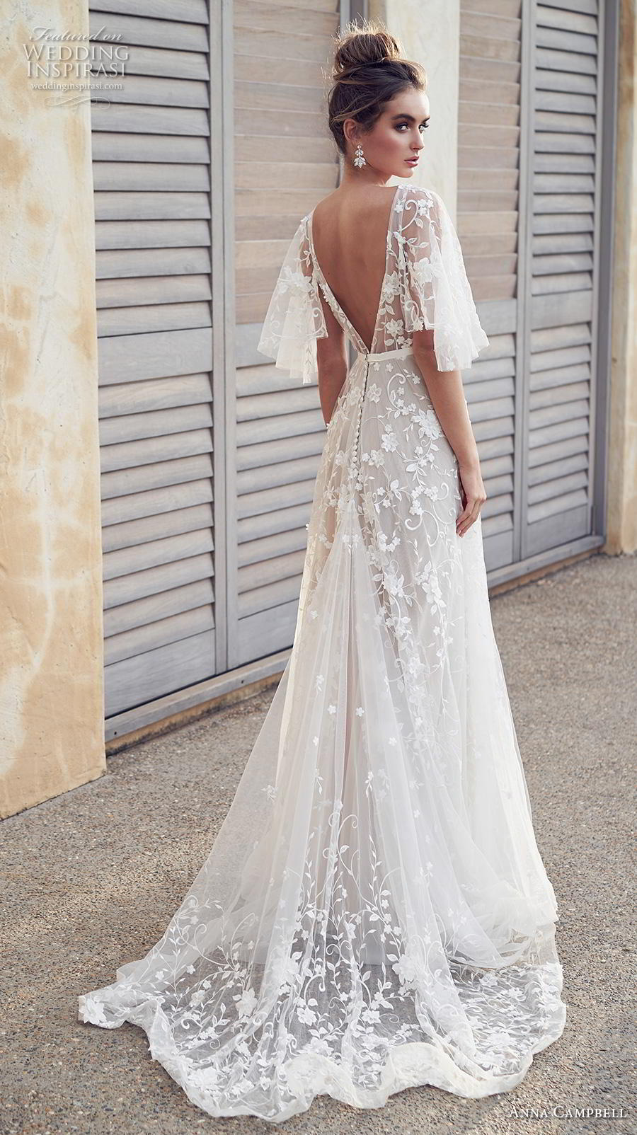anna campbell 2019 bridal half handkerchief sleeves v neck full embellishment romantic pretty soft a line wedding dress blackess open back sweep train (1) bv