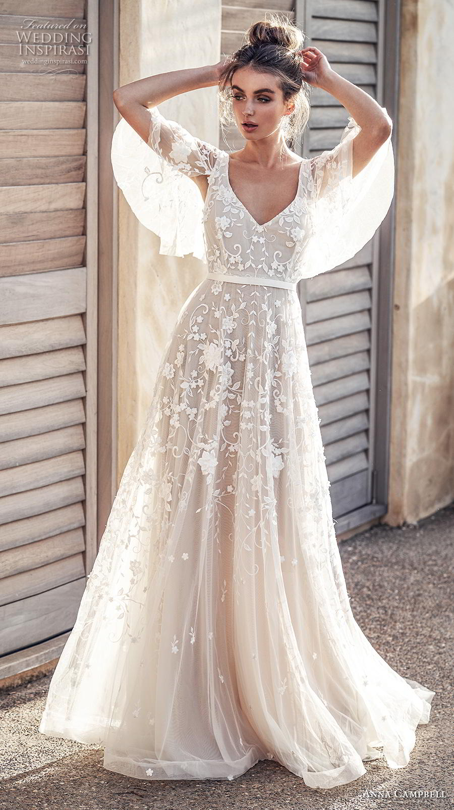 anna campbell 2019 bridal half handkerchief sleeves v neck full embellishment romantic pretty soft a  line wedding dress blackess open back sweep train (1) mv