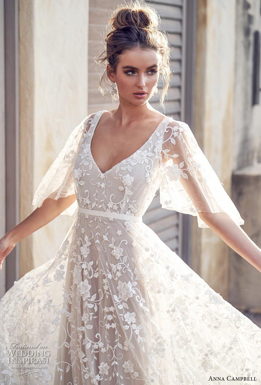 Anna Campbell 2019 Bridal Half Handkerchief Sleeves V Neck Full Embellishment Pretty Soft A Line
