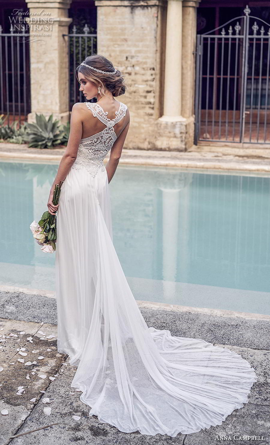 anna campbell 2019 bridal sleeveless halter neck heavily embellished bodice tulle skirt elegant grecian column wedding dress rasor back chapel train (6) bv