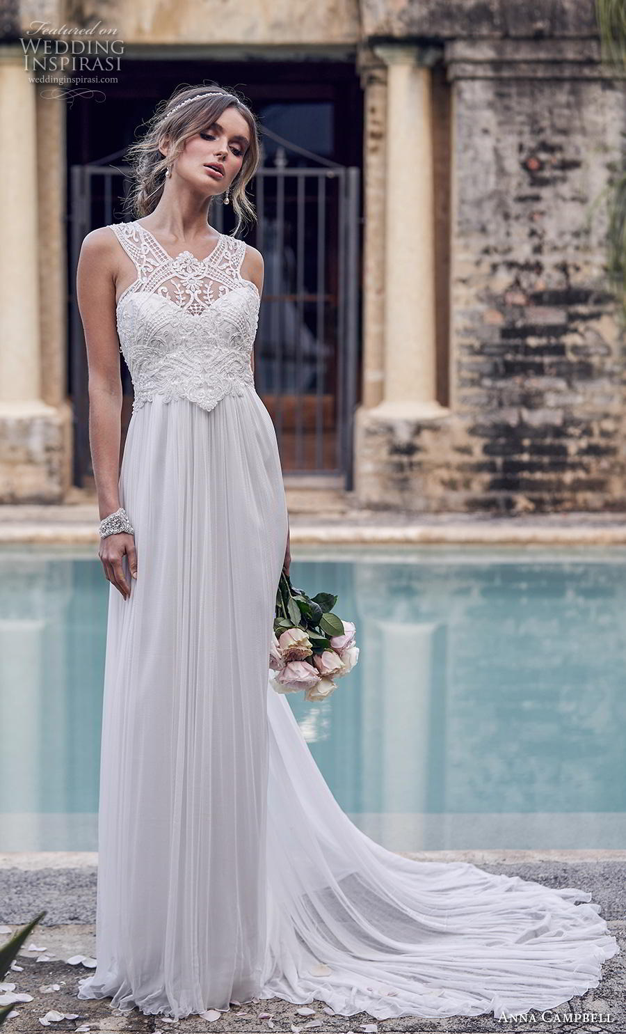 anna campbell 2019 bridal sleeveless halter neck heavily embellished bodice tulle skirt elegant grecian column wedding dress rasor back chapel train (6) mv