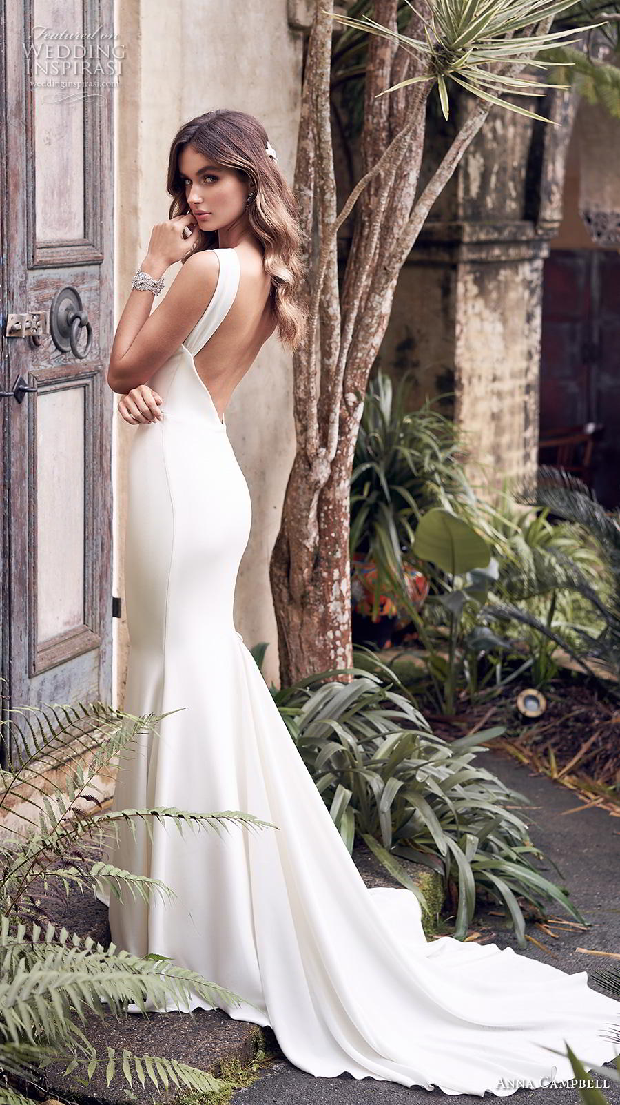 anna campbell 2019 bridal sleeveless halter neck simple embellished waist minimalist elegant fit and flare sheath wedding dress open low back chapel train (12) bv
