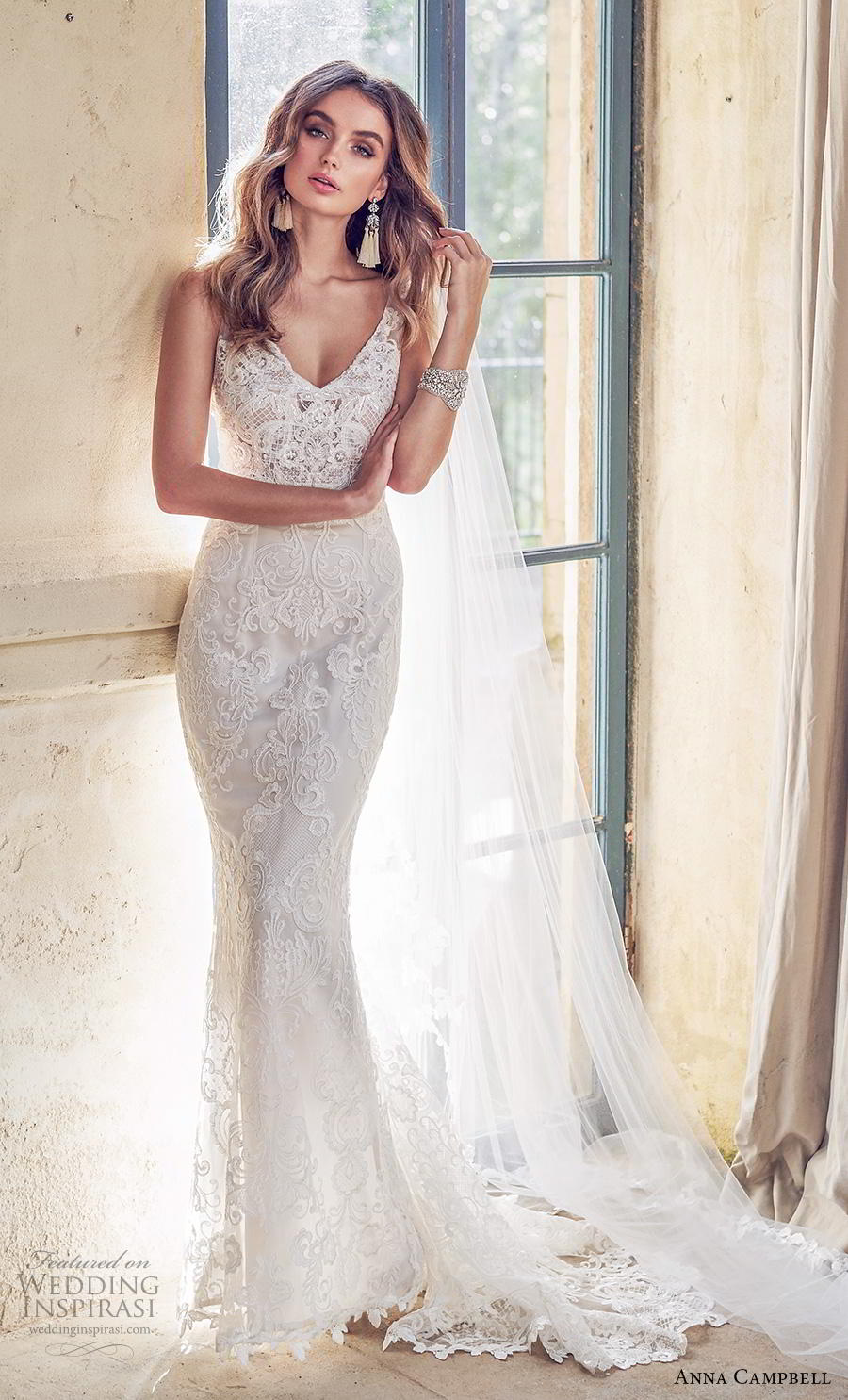 anna campbell 2019 bridal sleeveless v neck full embellishment elegant fit and flare wedding dress backless v back medium train (5) mv