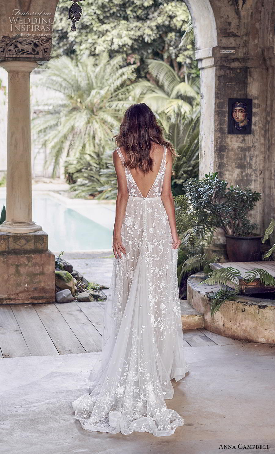 anna campbell 2019 bridal sleeveless v neck full embellishment romantic pretty modified a line wedding dress backless v back medium train (2) bv