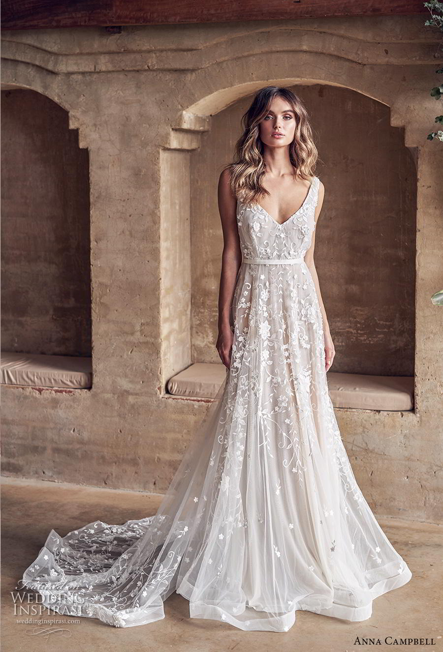 anna campbell 2019 bridal sleeveless v neck full embellishment romantic pretty modified a line wedding dress backless v back medium train (2) mv