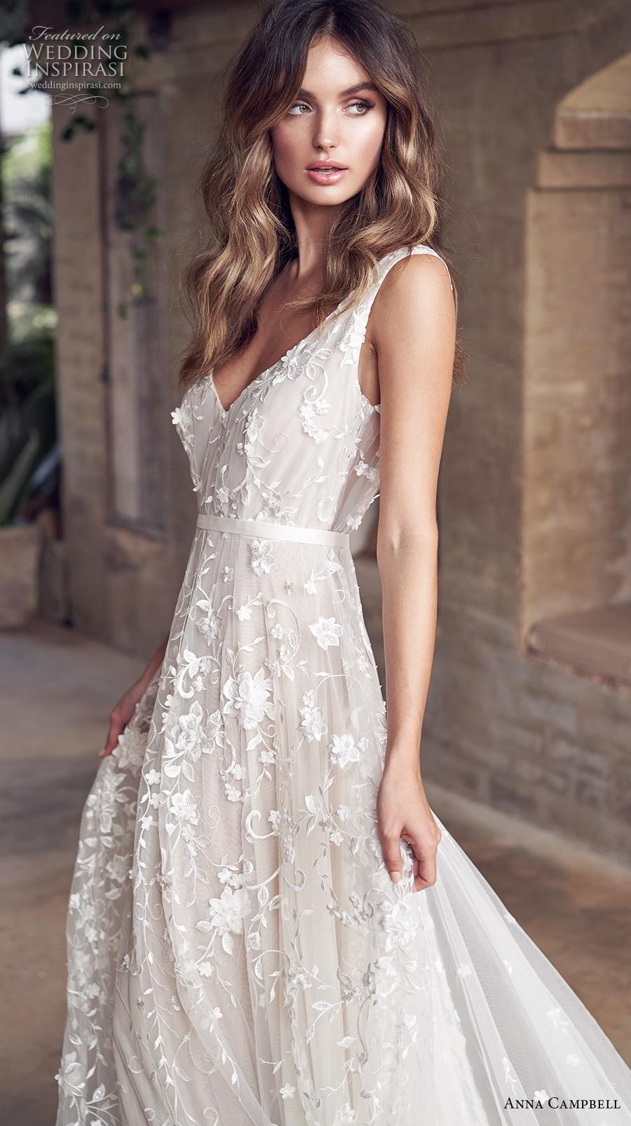 anna campbell 2019 bridal sleeveless v neck full embellishment romantic pretty modified a line wedding dress backless v back medium train (2) zv