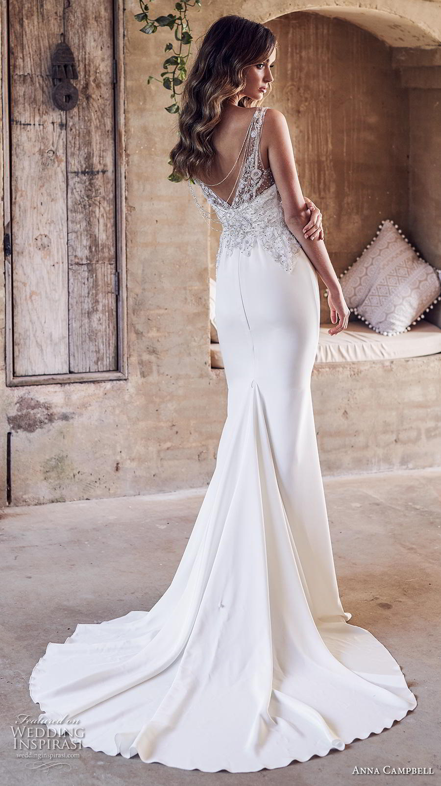 anna campbell 2019 bridal sleeveless v neck heavily embellished bodice elegant sheath fit and flare wedding dress v back medium train (16) bv