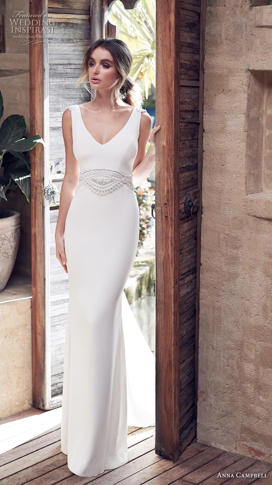anna campbell 2019 bridal sleeveless v neck simple embellished waist minimalist elegant sheath wedding dress backless v back sweep train (8) mv