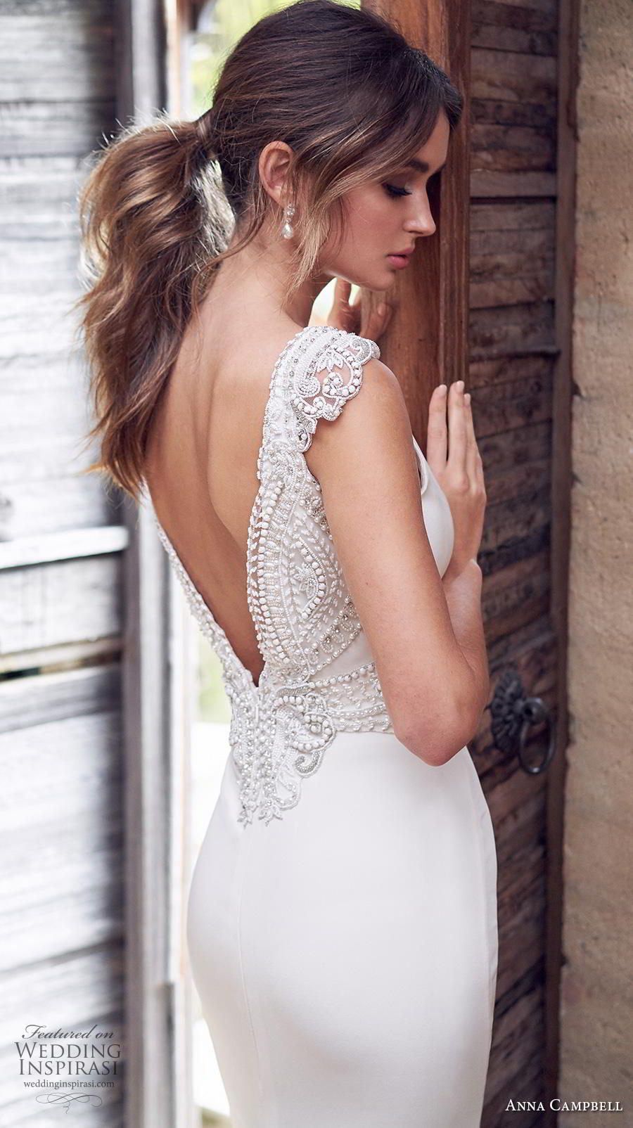 anna campbell 2019 bridal sleeveless v neck simple embellished waist minimalist elegant sheath wedding dress backless v back sweep train (8) zbv