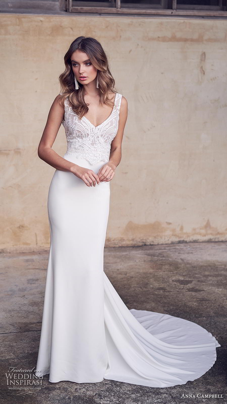 anna campbell 2019 bridal sleeveless with strap v neck heavily embellished bodice elegant sheath wedding dress backless scoop back medium train (15) mv