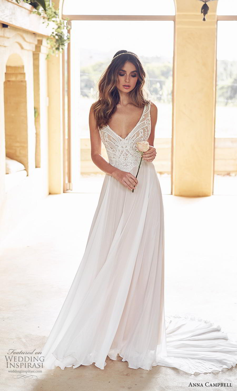 anna campbell 2019 bridal sleeveless with strap v neck heavily embellished bodice romantic soft a line wedding dress backless scoop back chapel train (15) mv