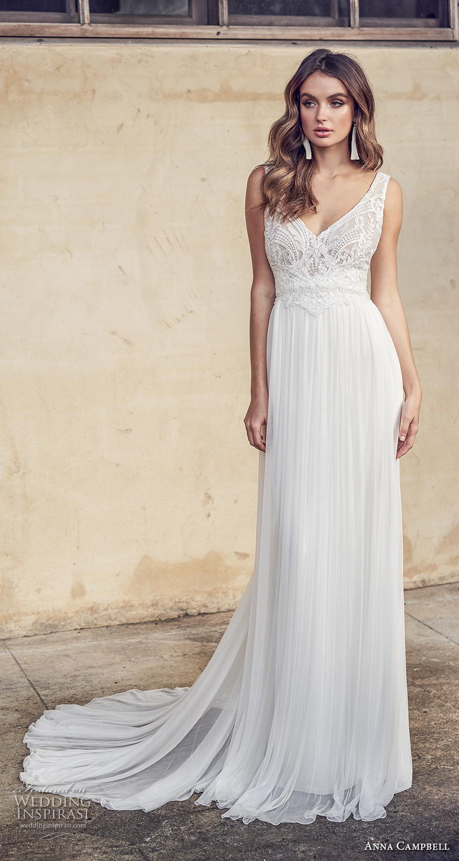 anna campbell 2019 bridal sleeveless with strap v neck heavily embellished bodice tulle skirt romantic soft a line wedding dress backless scoop back chapel train (15) mv