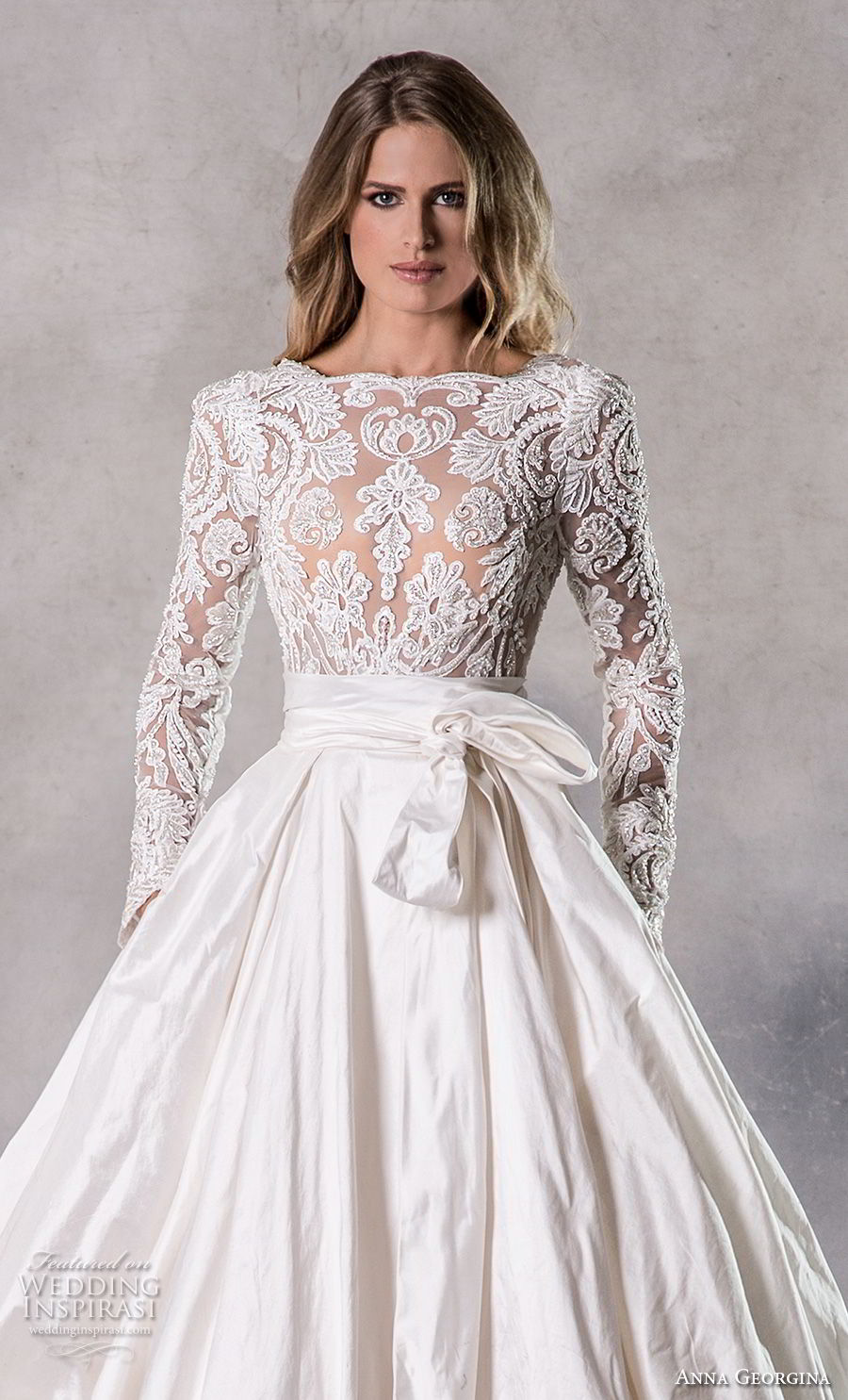 anna georgina 2019 couture long sleeves bateau heavily embellished bodice elegant princess ball gown a  line wedding dress with pockets backless v back chapel train (5) zv