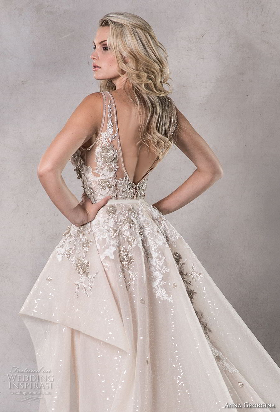 anna georgina 2019 couture sleeveless deep v neck heavily embellished bodice elegant glitzy sheath wedding dress a  line overskirt backless v back chapel train (3) zbv