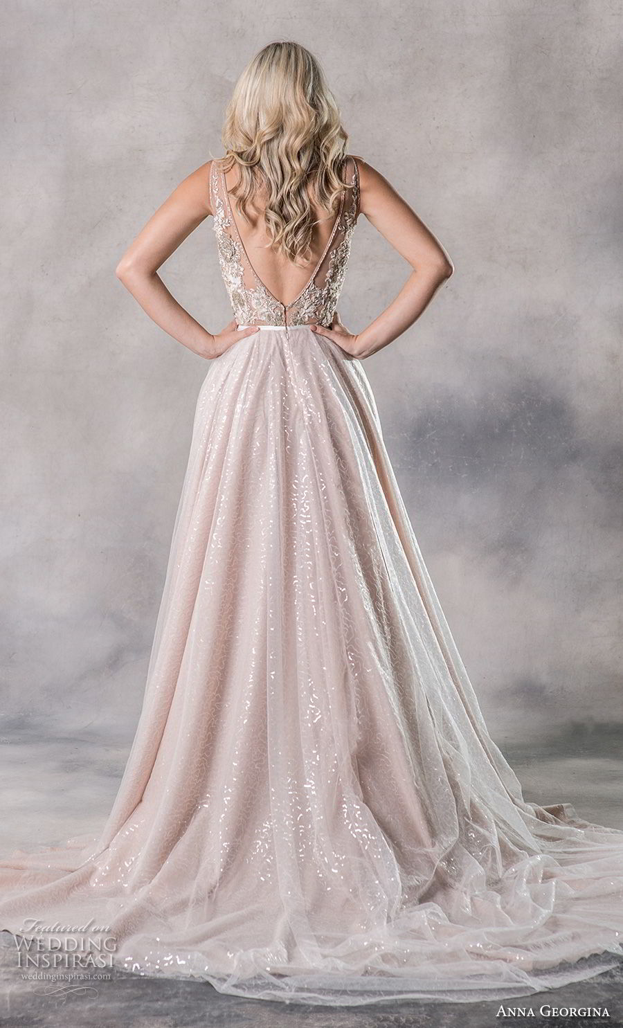 anna georgina 2019 couture sleeveless deep v neck heavily embellished bodice glizty glamorous blush a  line wedding dress backless v back chapel train (10) bv