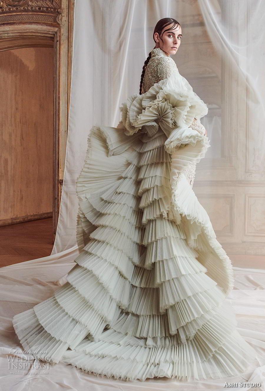 ashi studio fall winter 2019 bridal green dress