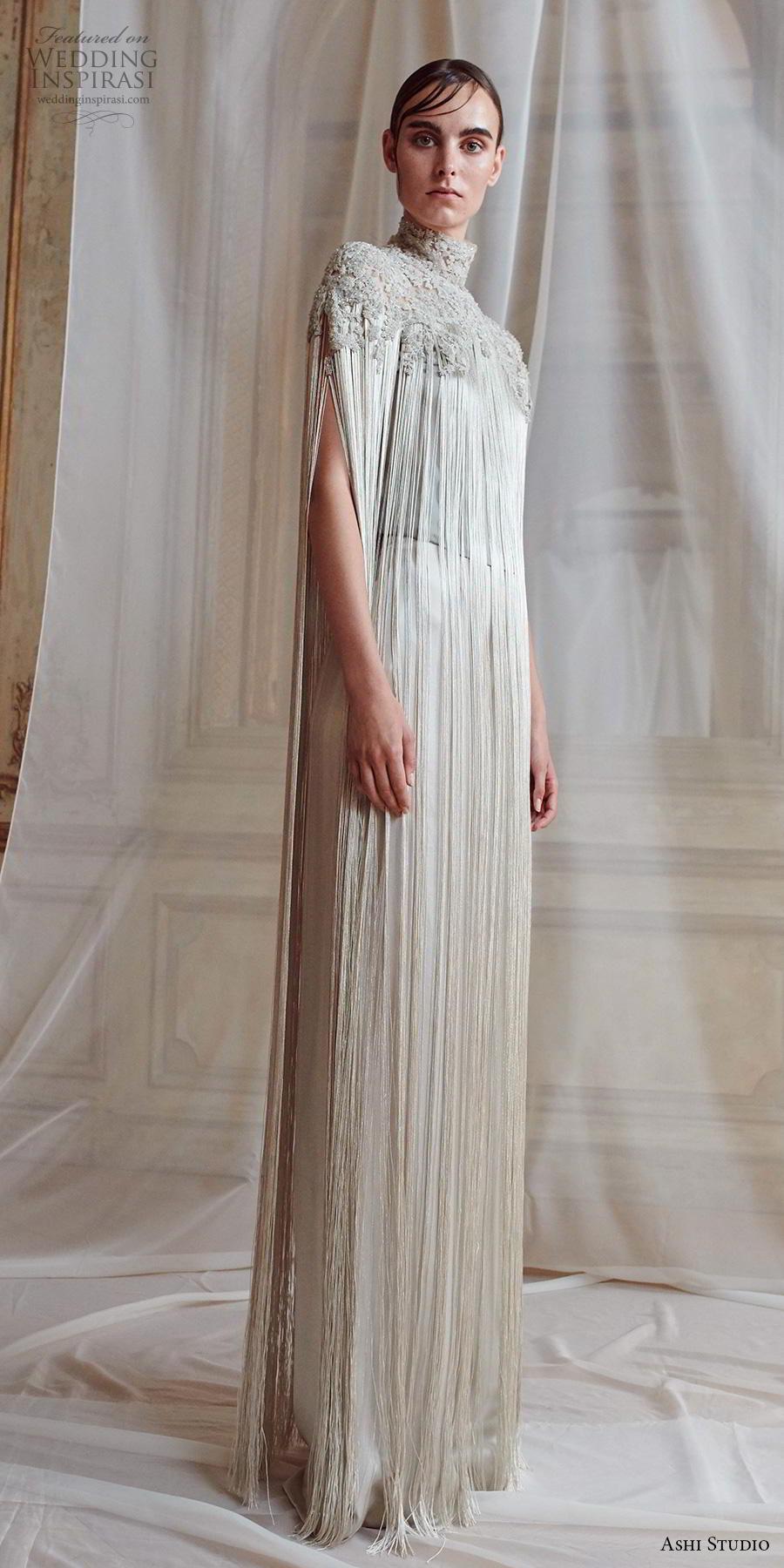 ashi studio fall winter 2019 bridal hanging sleeves high neck heavily embellished bodice elegant grecian column wedding dress sweep train (11) mv