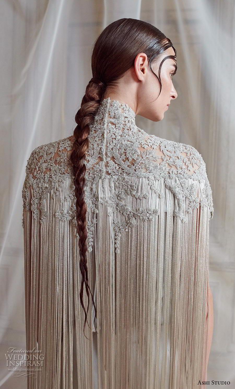 ashi studio fall winter 2019 bridal hanging sleeves high neck heavily embellished bodice elegant grecian column wedding dress sweep train (11) zbv