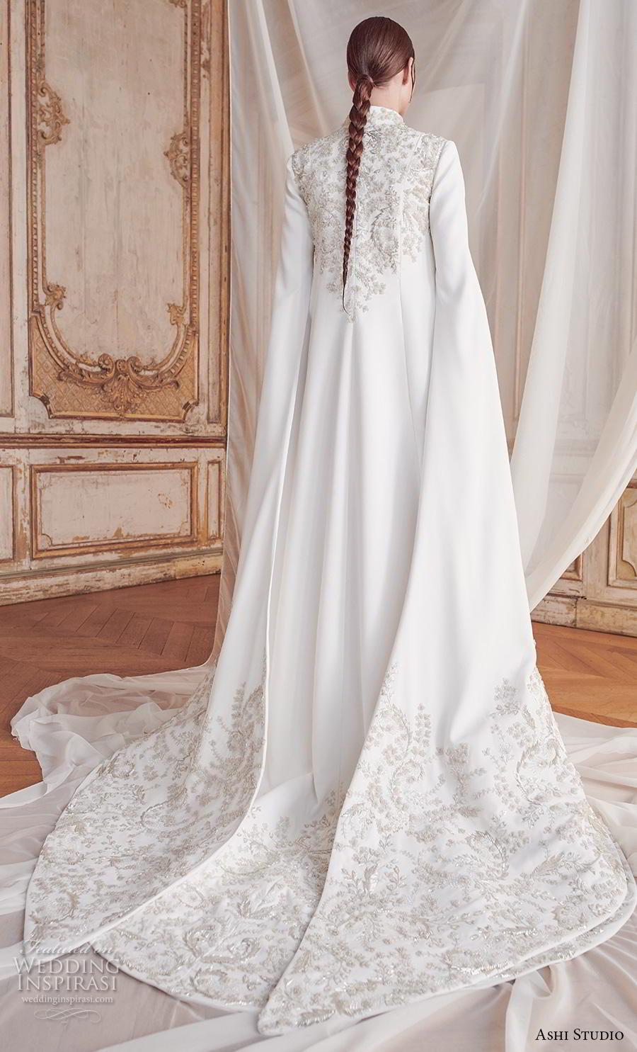 ashi studio fall winter 2019 bridal long hanging sleeves high neck full embellishement glamorous modern princess a  line wedding dress chapel train (4) bv