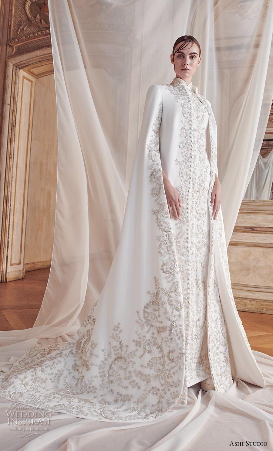 ashi studio fall winter 2019 bridal long hanging sleeves high neck full embellishement glamorous modern princess a  line wedding dress chapel train (4) mv