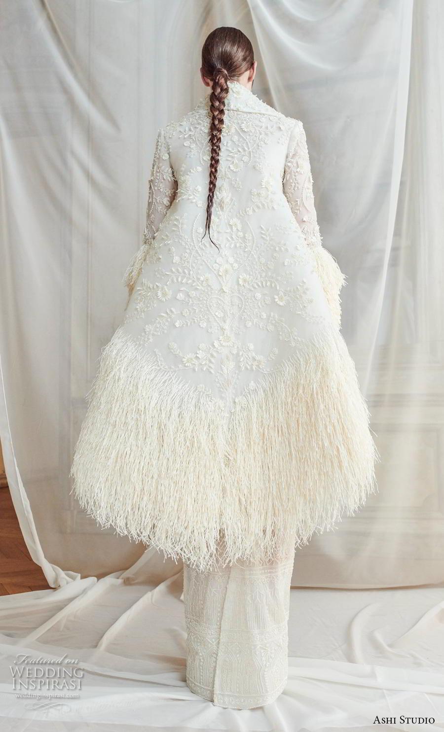 ashi studio fall winter 2019 bridal long lantern sleeves lapel collar full embellishment modern sheath wedding dress with jacket sweep train (7) bv