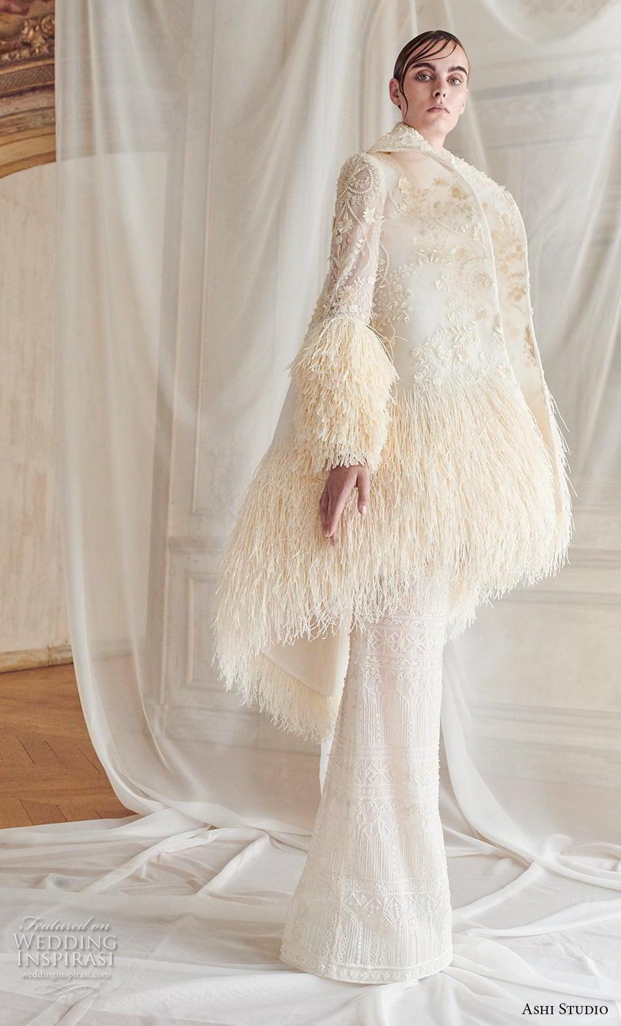ashi studio fall winter 2019 bridal long lantern sleeves lapel collar full embellishment modern sheath wedding dress with jacket sweep train (7) sdv mv
