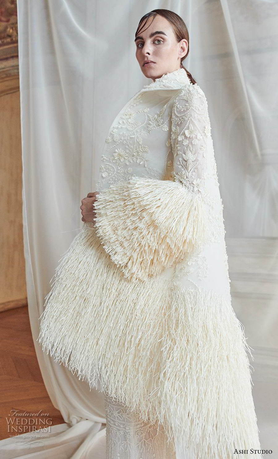 ashi studio fall winter 2019 bridal long lantern sleeves lapel collar full embellishment modern sheath wedding dress with jacket sweep train (7) zv