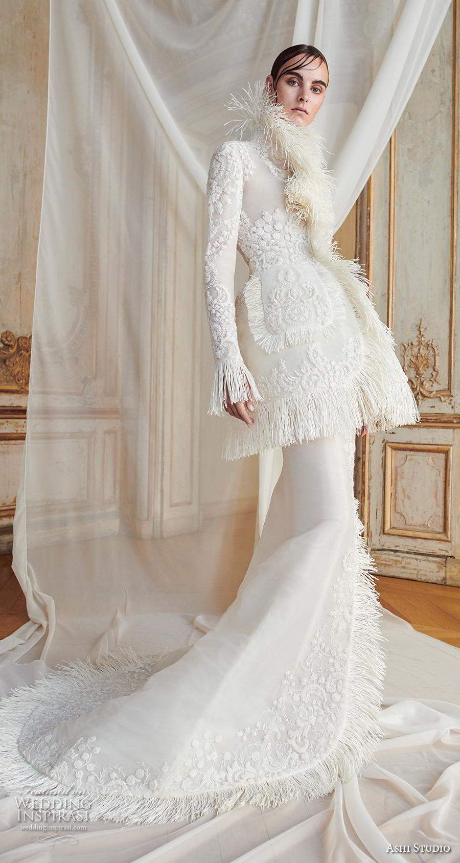 ashi studio fall winter 2019 bridal long poet sleeves high neck full embellishment glamorous modern fit and flare wedding dress with jacket chapel train (3) mv