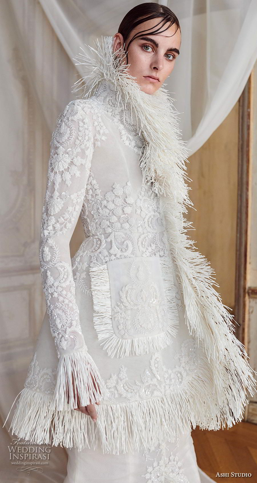 ashi studio fall winter 2019 bridal long poet sleeves high neck full embellishment glamorous modern fit and flare wedding dress with jacket chapel train (3) zv