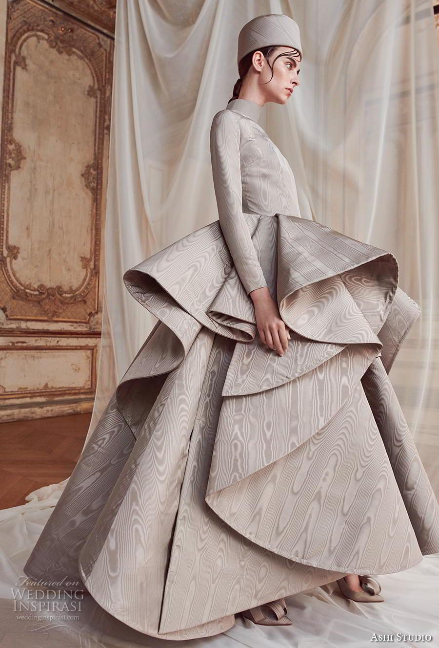 ashi studio fall winter 2019 bridal long sleeves high neck clean bodice peplum tiered skirt modern grey ball gown a  line wedding dress sweep train (13) mv sdv