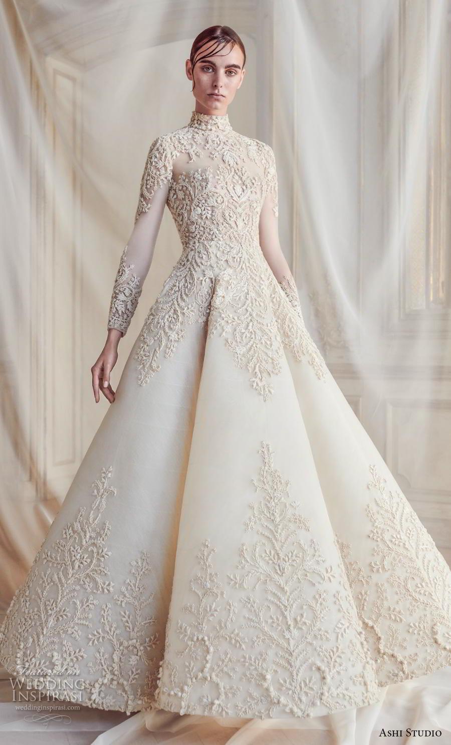 ashi studio fall winter 2019 bridal long sleeves high neck full embellishment glamorous a  line wedding dress sweep train (1) mv