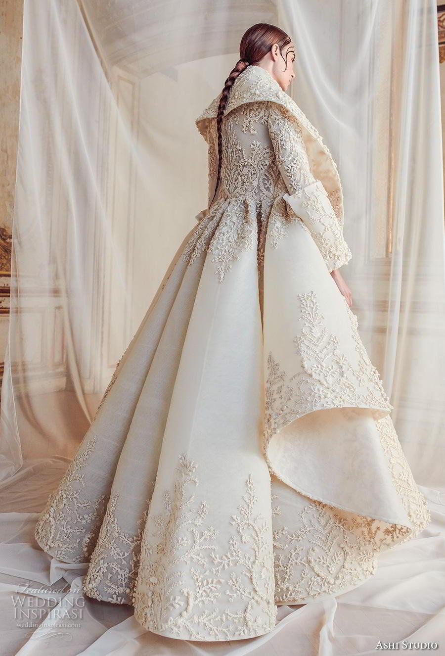 ashi studio fall winter 2019 bridal long sleeves high neck full embellishment glamorous a  line wedding dress with jacket sweep train (1) bv