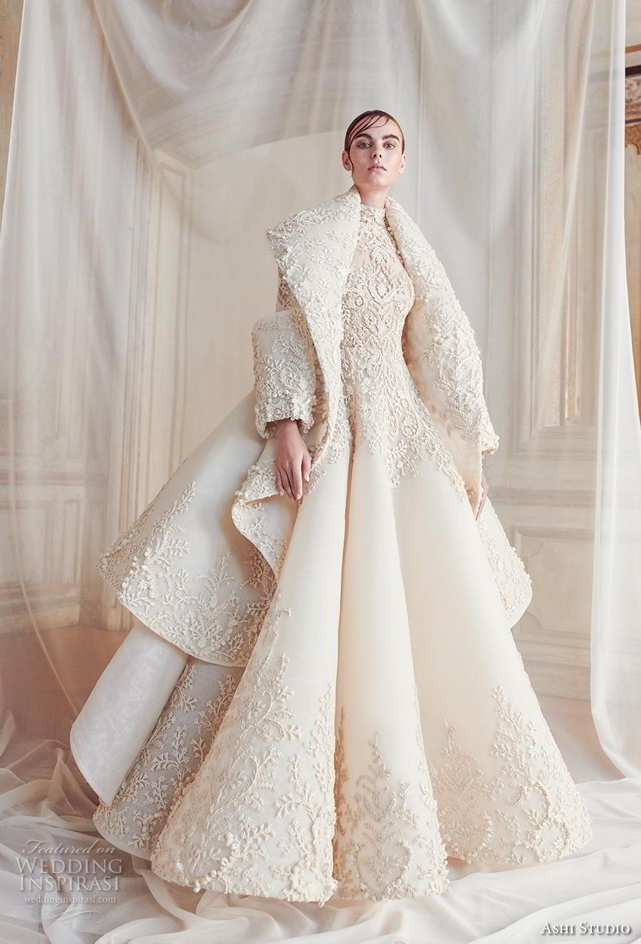 ashi studio fall winter 2019 bridal long sleeves high neck full embellishment glamorous a  line wedding dress with jacket sweep train (1) mv