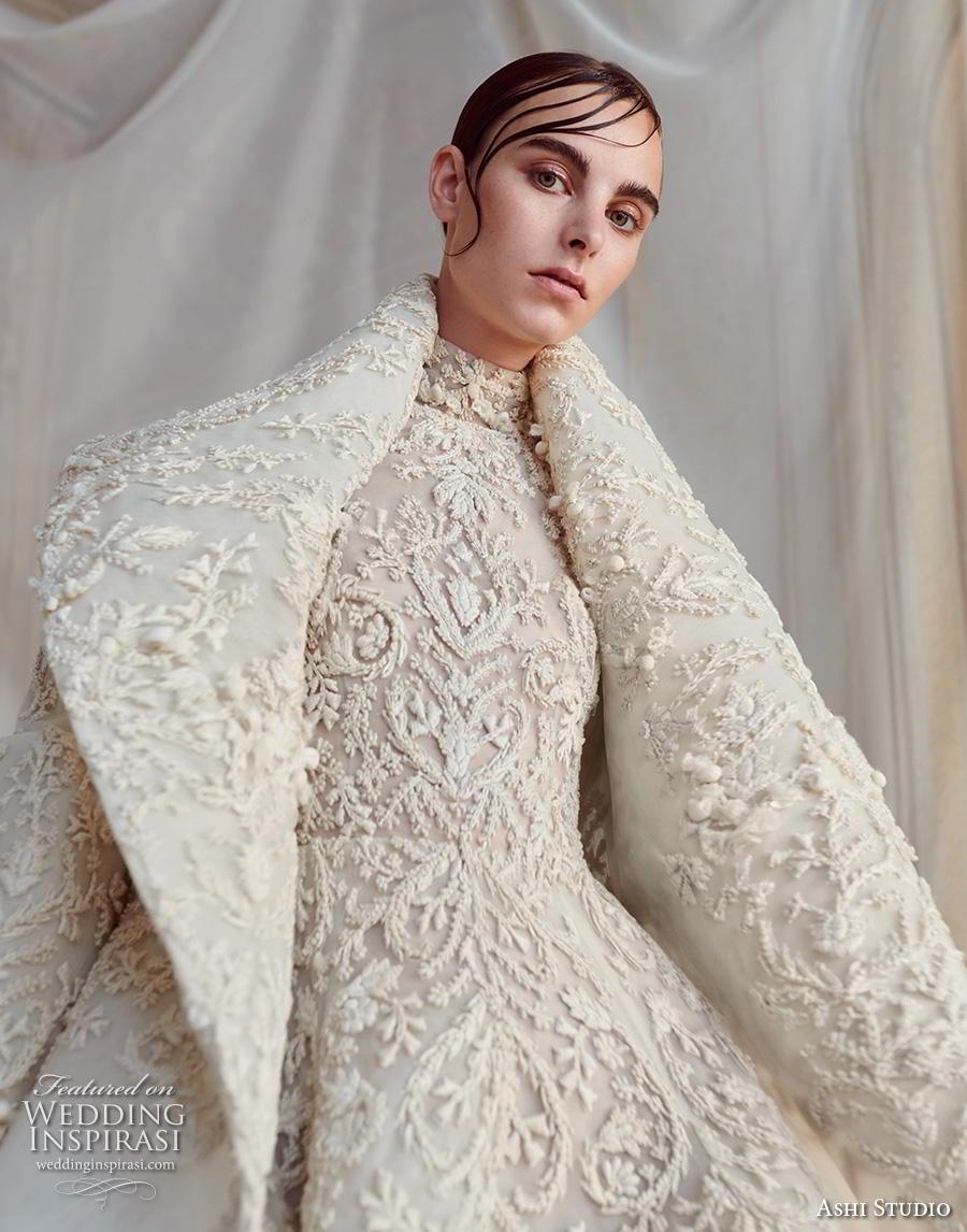 ashi studio fall winter 2019 bridal long sleeves high neck full embellishment glamorous a  line wedding dress with jacket sweep train (1) zv