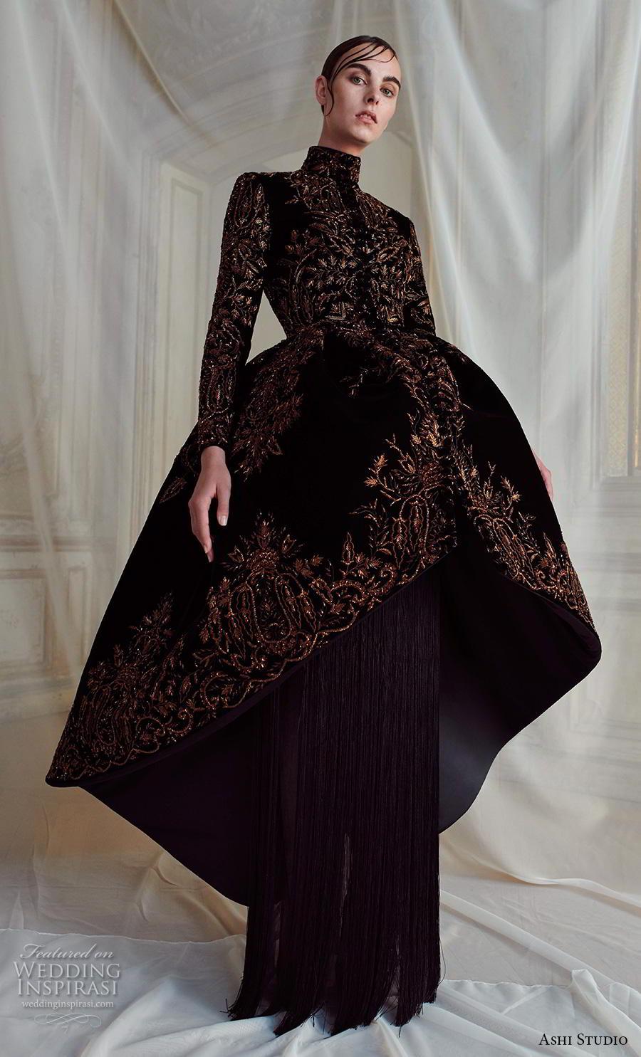 ashi studio fall winter 2019 bridal long sleeves high neck glamorous black dress