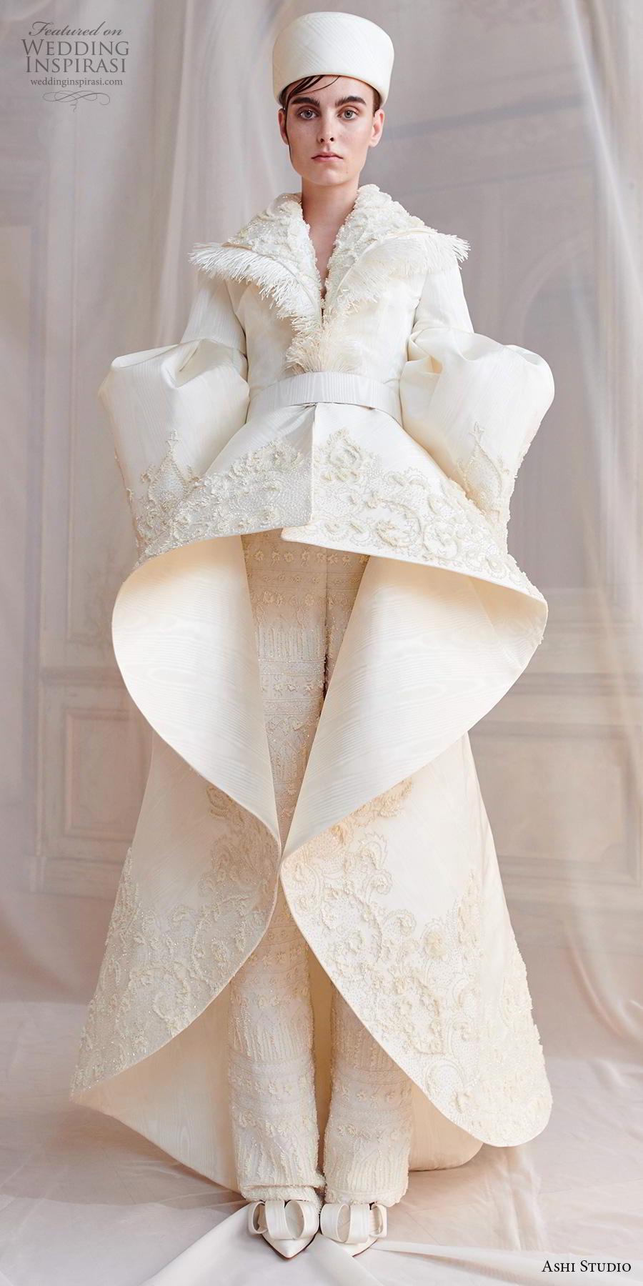 ashi studio fall winter 2019 bridal long virago sleeves full embellishment peplum glamorous jacket pants wedding dress a  line overskirt sweep train (5) mv