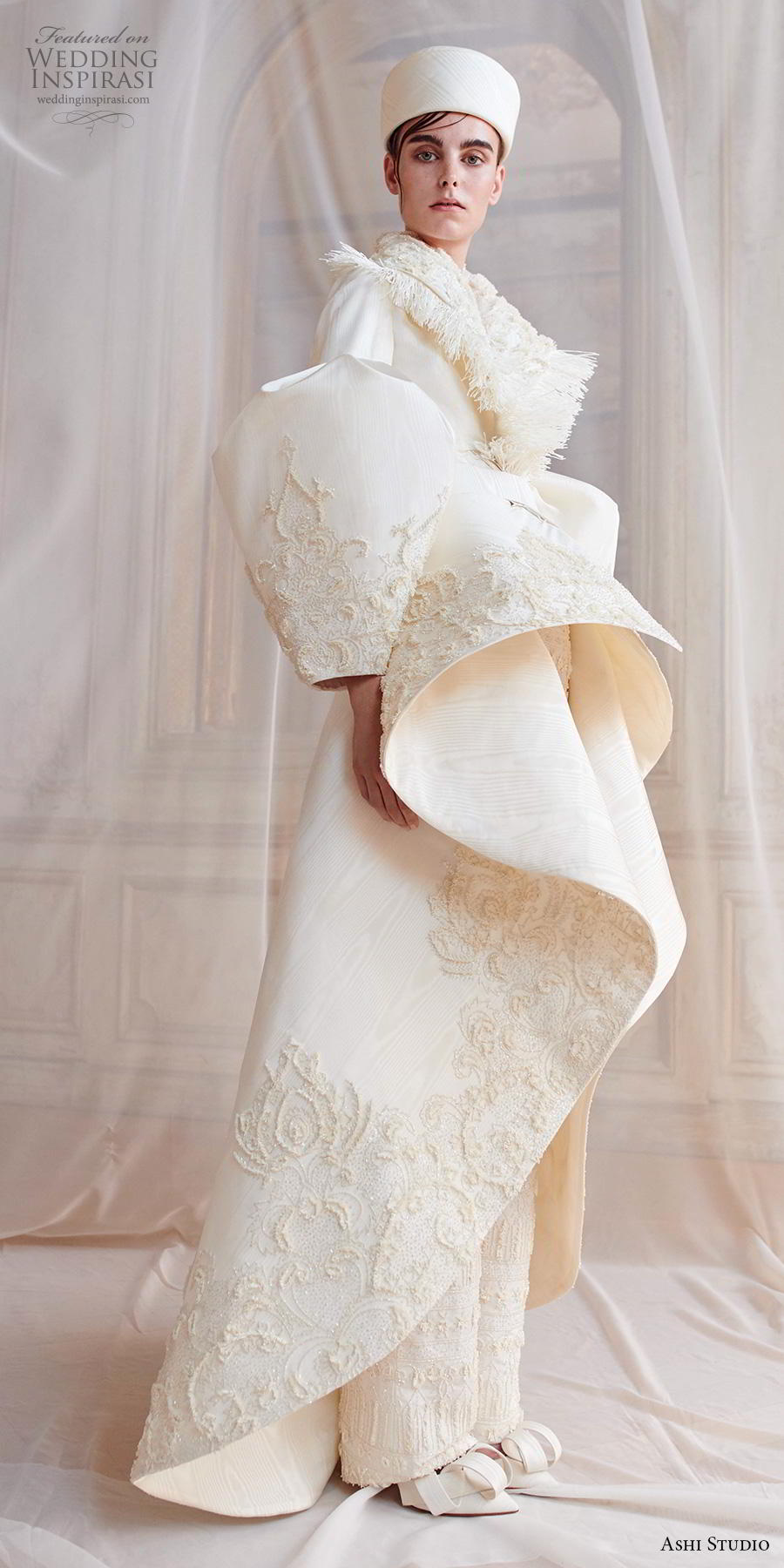 ashi studio fall winter 2019 bridal long virago sleeves full embellishment peplum glamorous jacket pants wedding dress a  line overskirt sweep train (5) sdv