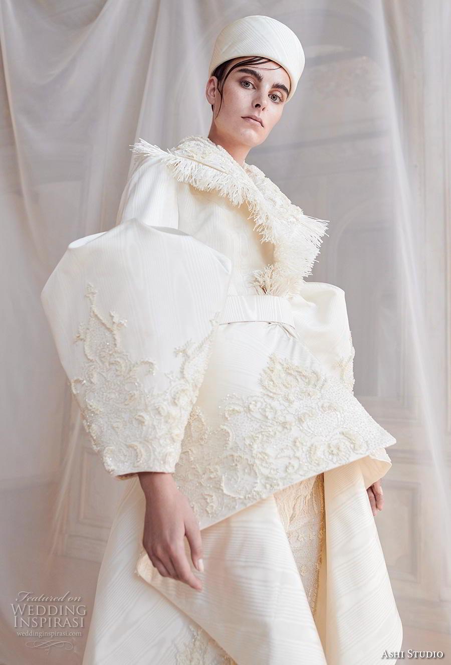 ashi studio fall winter 2019 bridal long virago sleeves full embellishment peplum glamorous jacket pants wedding dress a  line overskirt sweep train (5) zv