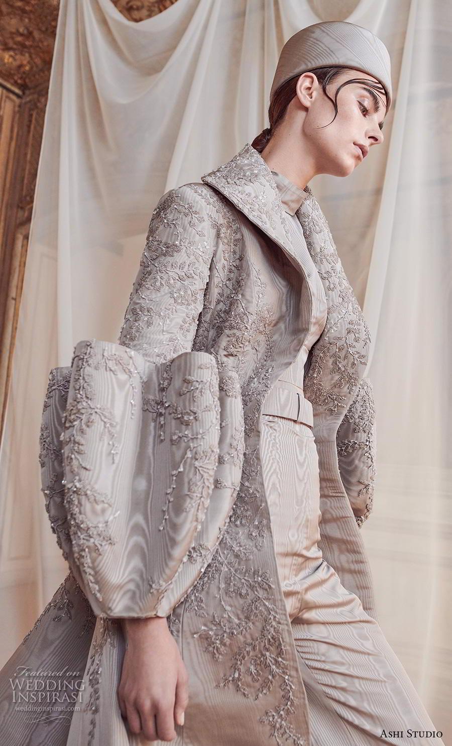 ashi studio fall winter 2019 bridal modern glamorous grey jacket outfit