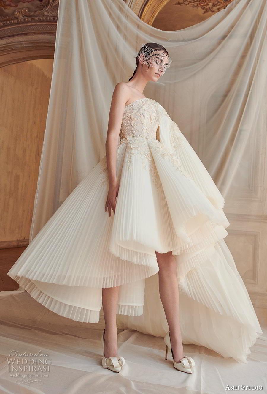 ashi studio fall winter 2019 bridal one shoulder heavily embellished bodice pleated skirt grecian glamorous short wedding dress (8) sdv