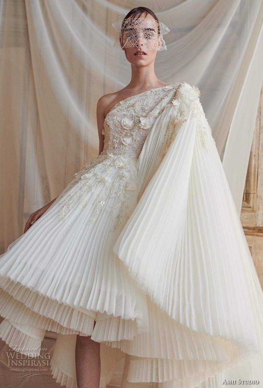 ashi studio fall winter 2019 bridal one shoulder heavily embellished bodice pleated skirt grecian glamorous short wedding dress (8) zv