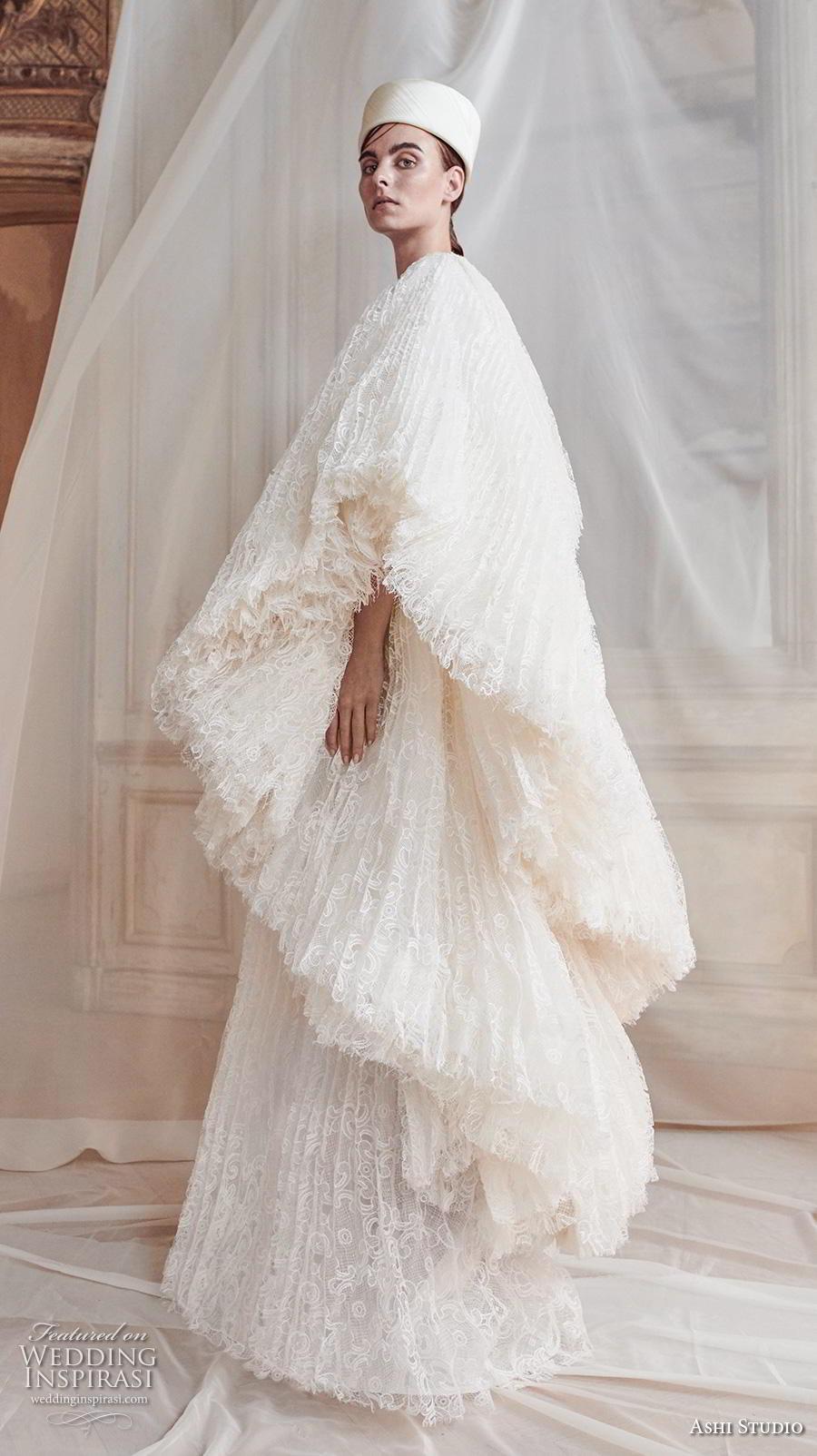ashi studio fall winter 2019 bridal one shoulder long kimono sleeves jewel neck full embellishment modern a  line wedding dress sweep train (9) sdv