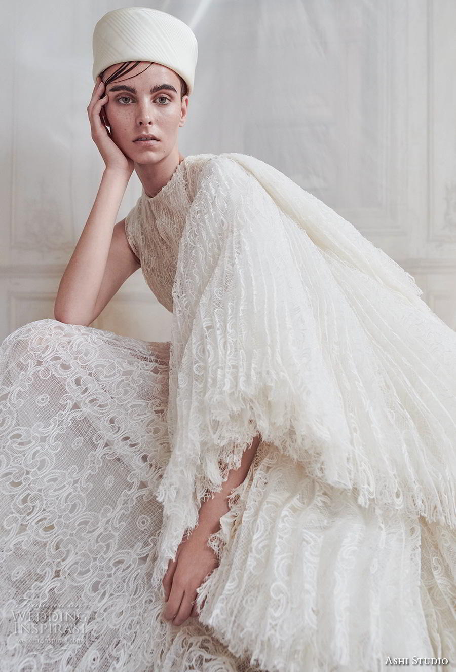 ashi studio fall winter 2019 bridal one shoulder long kimono sleeves jewel neck full embellishment modern a  line wedding dress sweep train (9) zv