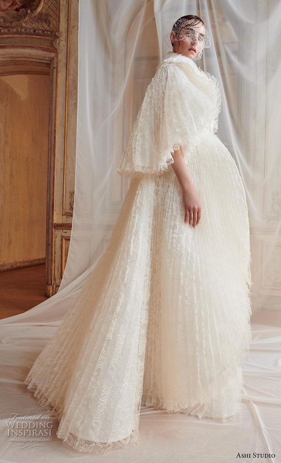 ashi studio fall winter 2019 bridal short flare sleeves big lapel straight across neckline full embellishment modern a  line wedding dress sweep train (10) mv
