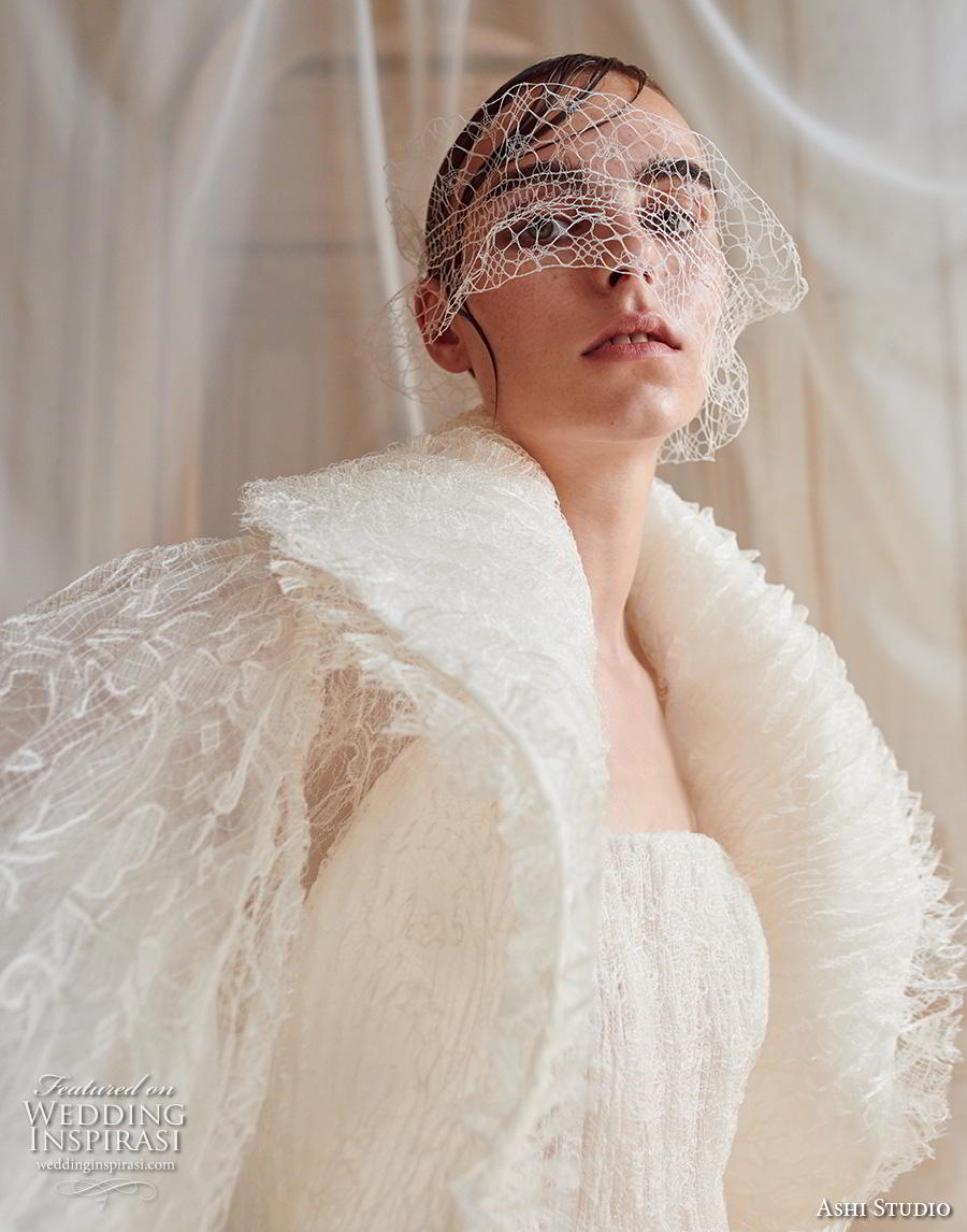 ashi studio fall winter 2019 bridal short flare sleeves big lapel straight across neckline full embellishment modern a  line wedding dress sweep train (10) zv