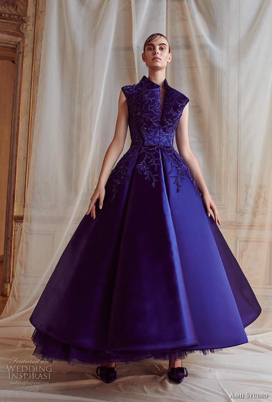 ashi studio fall winter 2019 bridal sleeveless high neck heavily embellished bodice romantic opulent blue purple tea length short wedding dress (14) mv